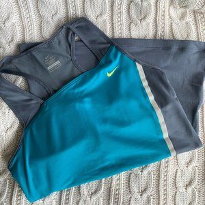 Nike Dri-Fit Aqua Blue and Gray Workout Top